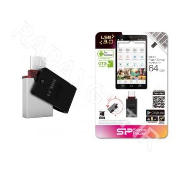 فلش مموری سیلیکون پاور 64 گیگ موبایل SILICON POWER OTG USB3 X31